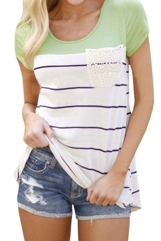 t-shirt green fashion style cool casual stripes summer basic teenagers pocket t-shirt beautifulhalo