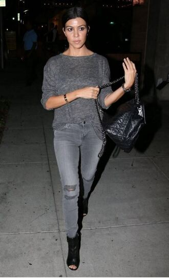 jeans ripped jeans kourtney kardashian fall outfits booties sweater