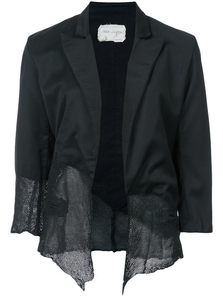 Greg Lauren blazer women leather black silk wool jacket