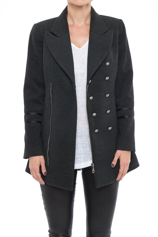 Charcoal Military Coat - Charcoal Military Coat, Matt Silver Buttons on  front  Closes with zi   , | , ANINE BING