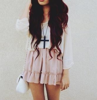 skirt pink pastel pastel pink blouse cross necklace jewels cross black pink skirt amazing wonderful cross white blouse