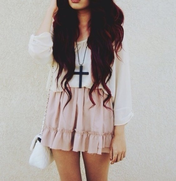 skirt white blouse pink skirt amazing wonderful cross blouse pink pastel pastel pink jewels cross black