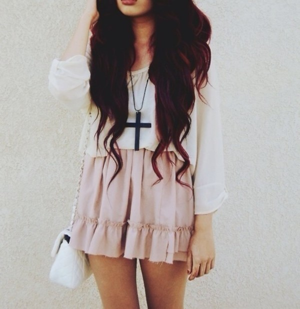 skirt pink pastel pastel pink blouse cross necklace white pretty jewels bag tumblr clothes cross black shirt hair accessory top peplum ruffle flare baby light girl lovely sweet lolita cross flowers love cute