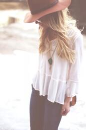 happily grey,t-shirt,jeans,jewels,hat,bag,felt hat,top,blouse