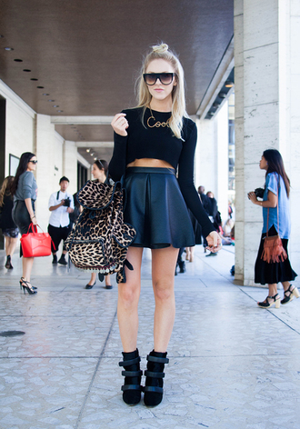 t-shirt shoes cheyenne meets chanel skirt jewels bag peaceloveshea leather look mini skirt shirt sunglasses sneakers top leather skirt