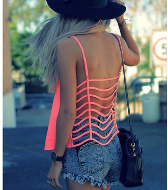 tank top summer bag hat spring break backless top shorts neon vest shirt coral open back strappy bright sun hat summer outfits blonde hair cute cut-out watch hangbag crop tops top pink stripped open back long striped pants stripes t-shirt back girl lace backless coral top orange red pink shirt cut top tumblr girly skirt summerish summer top cut offs summer hat outfit peach caged back sheer rasberry pink crop tops embrodering waves cute outfits fashion