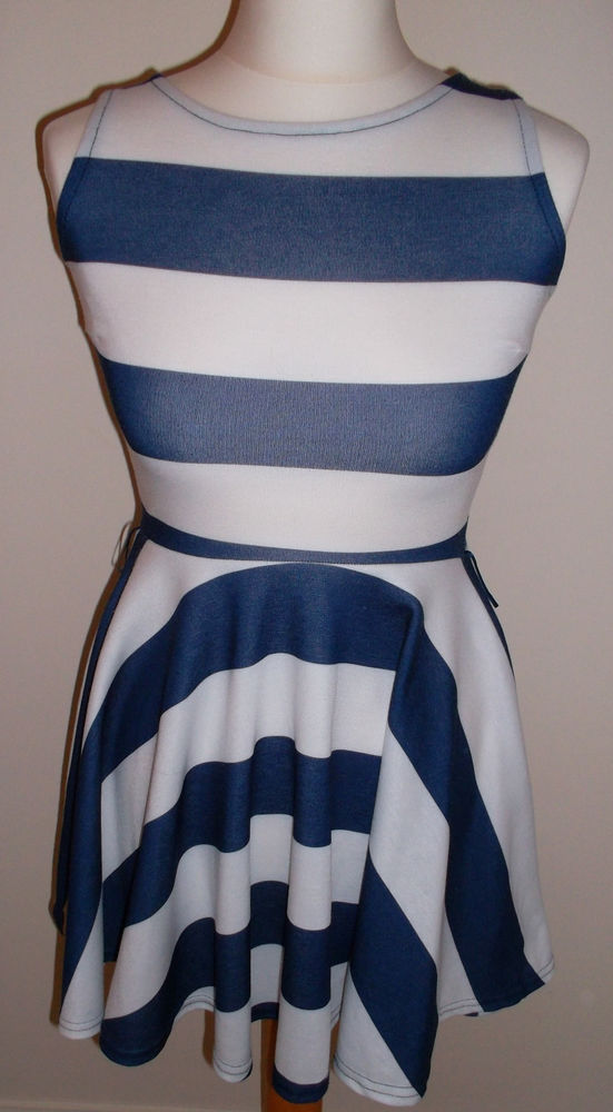 Miso blue & white stripe nautical skater dress size 6 | eBay