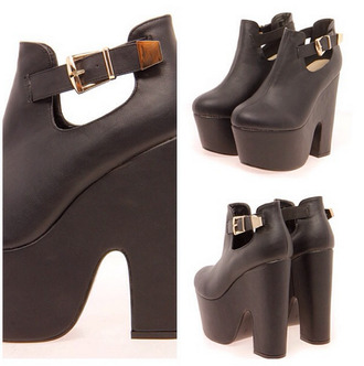 shoes boots straps black leather platform shoes high heels open sides block heels gold