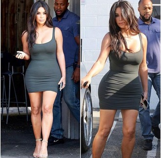 dress olive green kim kardashian bodycon dress