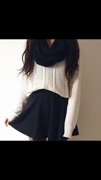 scarf sweater white scarf black skirt black