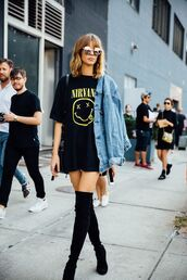 top,streetstyle,fashion week,nirvana t-shirt,t-shirt,black t-shirt,denim jacket,knee high boots,jacket,band t-shirt,glasses,blogger,black over knee boots,shirt,nirvana,denim,boots,shoes,sunglasses,black,yellow,oversized