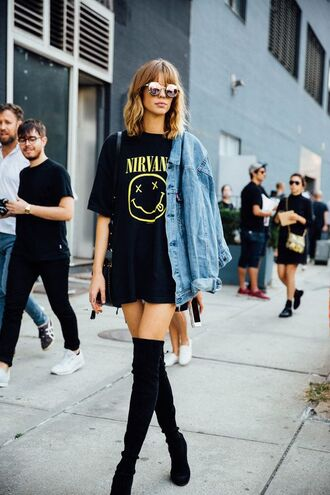 top streetstyle fashion week nirvana t-shirt t-shirt black t-shirt denim jacket knee high boots jacket band t-shirt glasses blogger black over knee boots