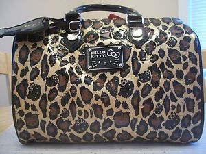 65d03a19b AUTHENTIC HELLO KITTY EMBOSSED LOUNGEFLY LEOPARD LARGE TOTE BAG / PURSE NWT
