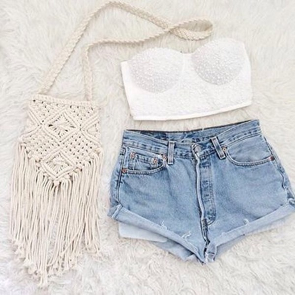 blouse shorts bag High waisted shorts top dress denim denim shorts style high waisted denim shorts white crop tops white top white lace bustier bustier crop top crop tops