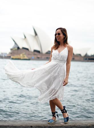 sydne summer's fashion reviews & style tips blogger dress sunglasses jewels shoes white dress midi dress espadrilles