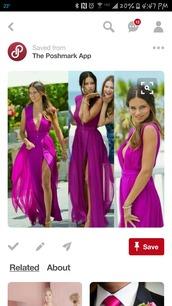 dress,bridesmaid,sexy v-neck dress,side split,front slit skirt,high front split evening dresses,pink dress,fuschia pink