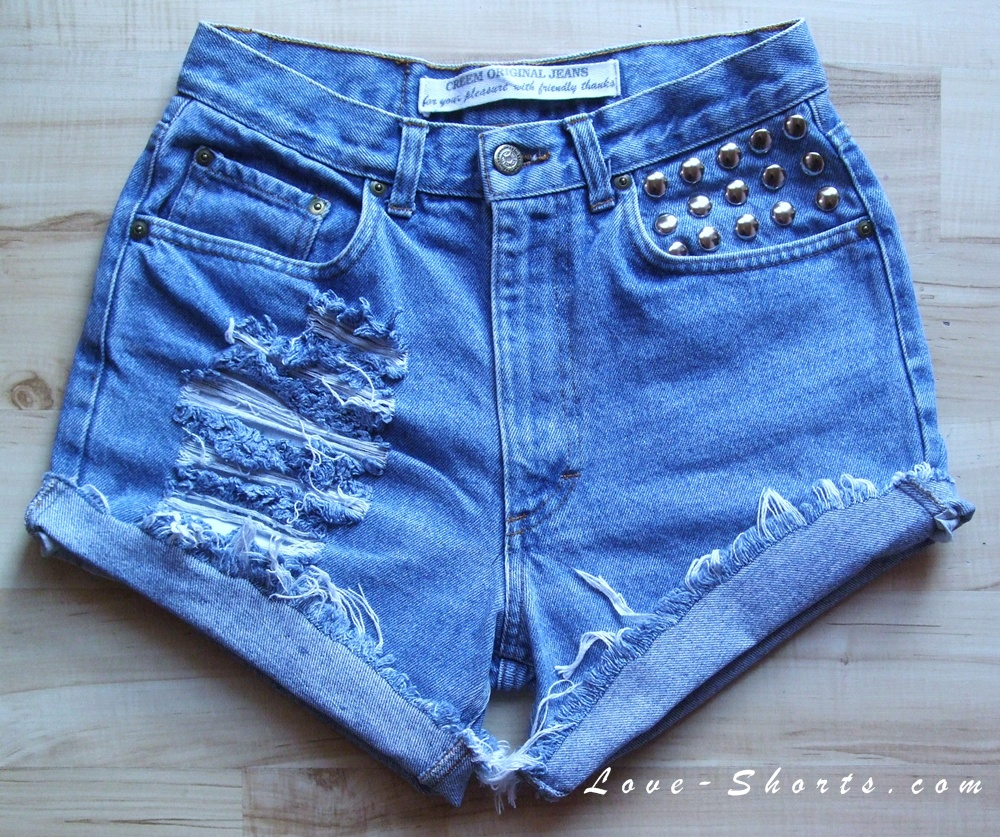 Super frayed studded shorts