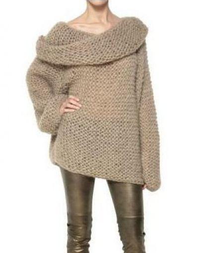 Camel Off the Shoulder Long Sleeve Chunky Sweater - Sheinside.com