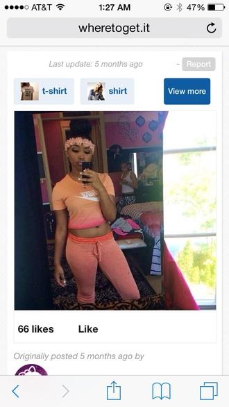 shirt nike orange crop tops jogging pants joggers