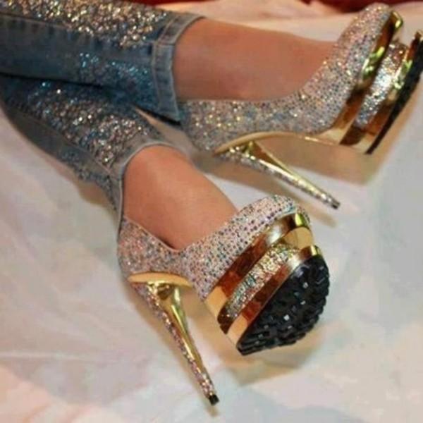 shoes sequins gold heels sparkle high heels glitter heels glitter pants cute jeans glitter pumps sparkly heels gold sequins gold high heels gold heels diamonds diamonds it's not her it's me glitter shoes black pumps white glittery heels