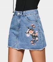 skirt,embroidered,girly,blue,denim,denim skirt,floral,flowers