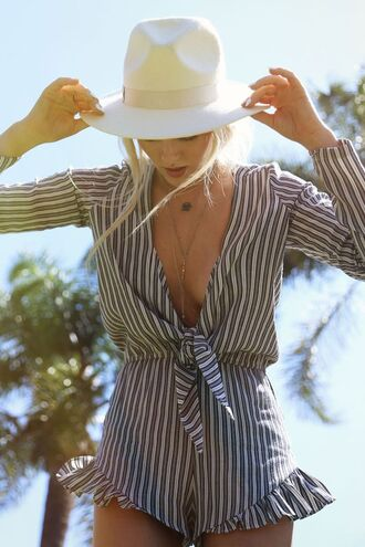 romper bows stripes long sleeve romper retro jumpsuit fashion style summer holidays deep v boho white