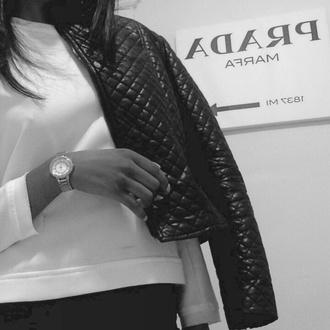 prada fashion jacket black jacket calvin klein white shirt diy style quilted zip zara like white top