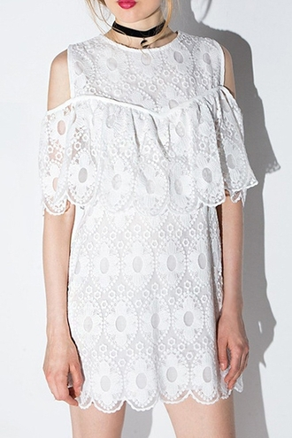 dress white cute feminine girly lace embroidered short dress summer spring fancy