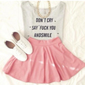 t-shirt,skirt,shoes,jewels,shirt,top,grey,tank top,blouse,hipster,outfit,canvas,skater skirt,crop tops,quote on it,dead,before,decaf,circle skirt,necklace,pink skirt,grey t-shirt,graphic tee,waar kan ik dit shirt kopen?,waar kan ik deze top halen,grey tank top with quotes,white t-shirt,cute shirt,clothes,fashion,style,grey shirt,hipster shirt,pink,white,sneakers,white sneakers,jewelry,watch,cool,cool style,fancy,shirts with sayings,t shirt with words,cool outfit