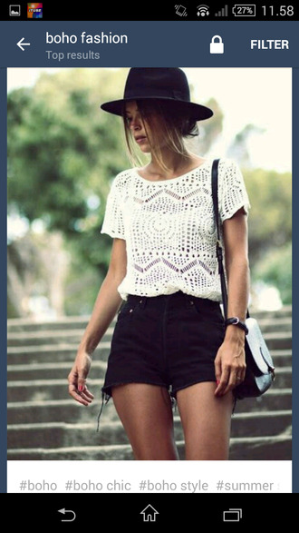 t-shirt black denim shorts