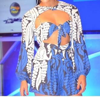 dress cut-out dress mini dress blue and white romper long sleeve romper