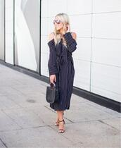 dress,tumblr,midi dress,off the shoulder,off the shoulder dress,stripes,striped dress,sandals,high heel sandals,sandal heels,bag,black bag,sunglasses,shoes