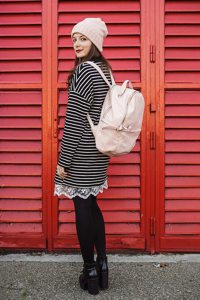 iemmafashion blogger dress striped dress pastel pink backpack beanie bag
