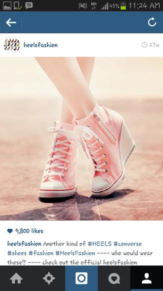 pink shoes converse sneakers wedges sneaker