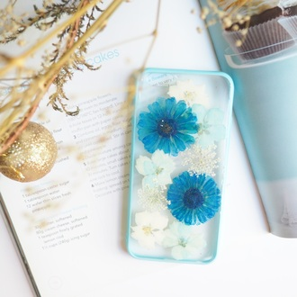 phone cover iphone case iphone cover iphone 6s flowers floral cute cool real flowers pressed flowers blue daisy handmade handcraft love design white shabibisheep iphone 6s plus case samsung galaxy cases samsung galaxy s4