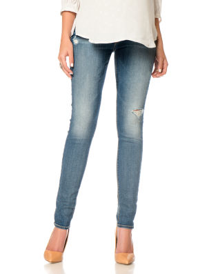7 For All Mankind Secret Fit Belly(r) Destructed Skinny Leg Maternity Crop Jeans