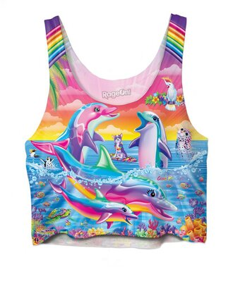 top crop tops rainbow multicolor lisa frank tank top