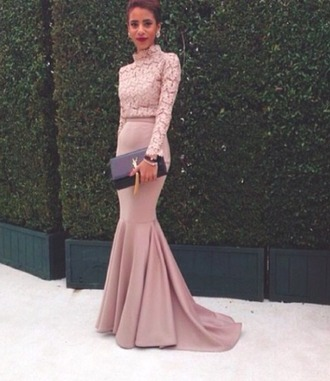 dress brands maker exact who purple nude lace skirt celebrity evening outfits prom dress maxi dress pink dress lace dress yves saint laurent pink long dress fishtail dress floral ysl