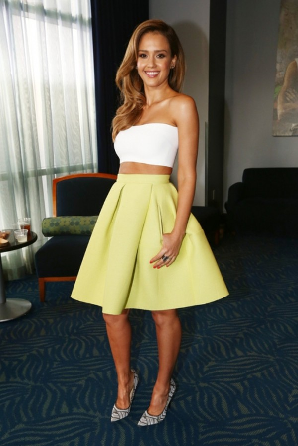 jessica alba top skirt