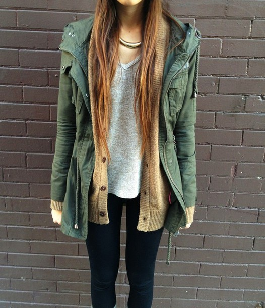 Parka jacket outfit tumblr