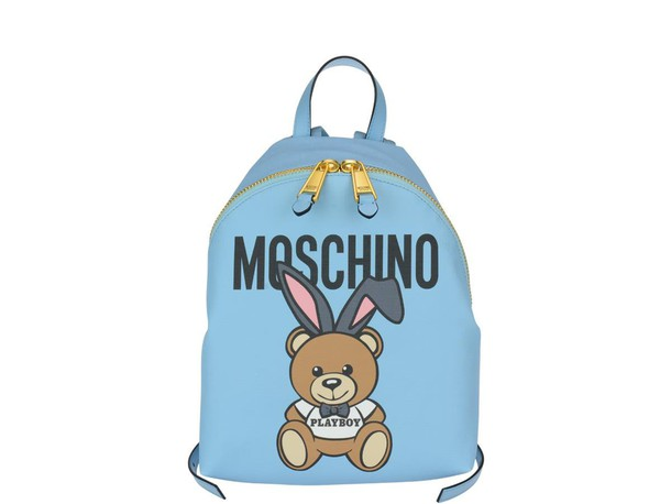 Moschino bear backpack light blue light blue bag
