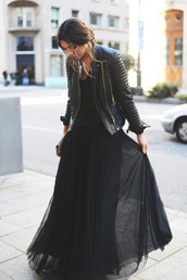 dress,black,leather jacket,skirt,long skirt,tulle skirt,jacket,top,black dress,jacket cuir,fashion,style,trendy,outfit,casual,black leather jacket,frou,chic,party dress,long dress,all black everything,cute