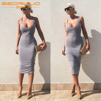 dress beautiful bodycon dress sexy dress sexy tank top fashion clubwear style low cut dress sexy as hell grey grey dress nightclub dress low cut silver dress fitness tank stage dress