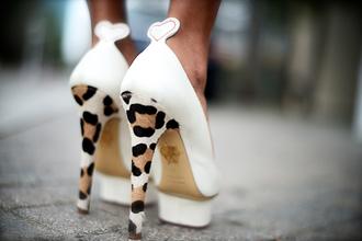 shoes white heart leopard print