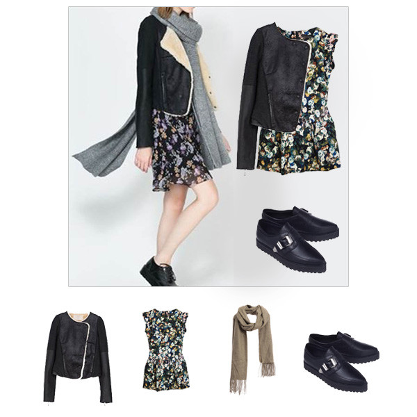 jacket choies coat shearling jacket floral dress