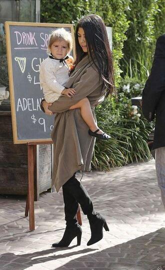 coat kourtney kardashian boots fall outfits