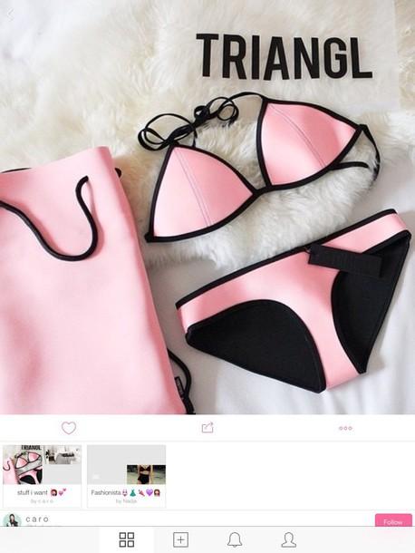 swimwear triangl pink swimwear beach pink swimwear bikini pink bikini triangle bikini pastel swimwear