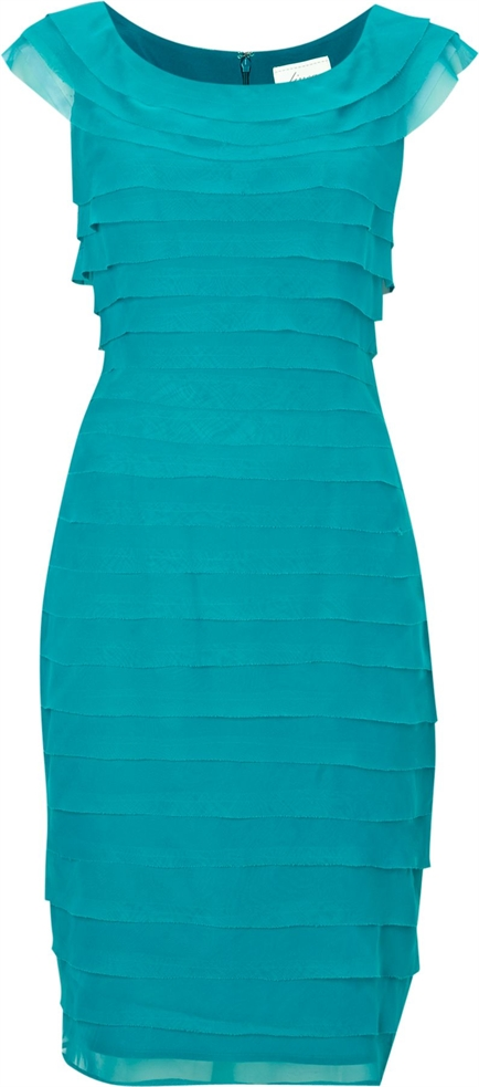 Linea chiffon shutter dress, jade