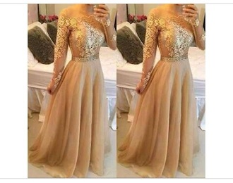 dress gold dress long evening dress