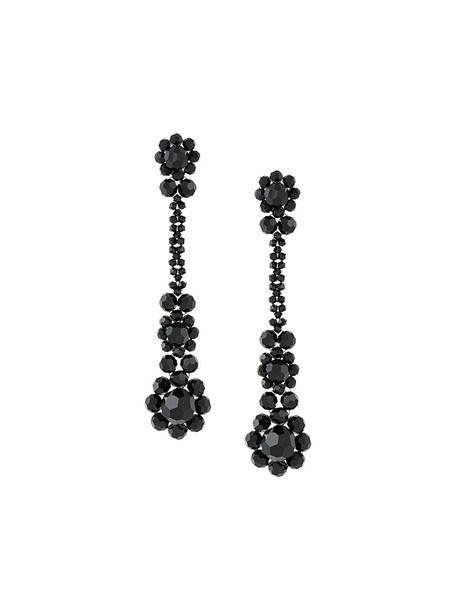 long women plastic earrings black jewels